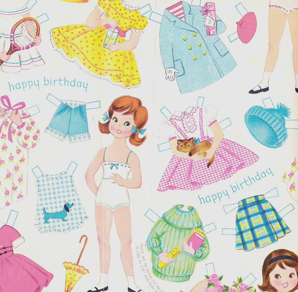 Vintage Juvenile Happy Birthday Girl Paper Doll Gift Wrap.