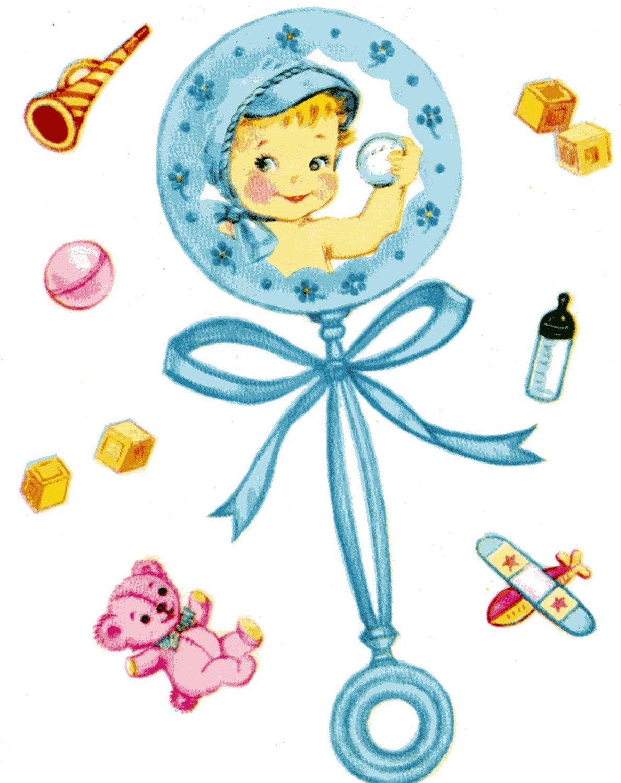 New Baby Boy Card CONGRATULATIONS on Birth Blue Rattle.