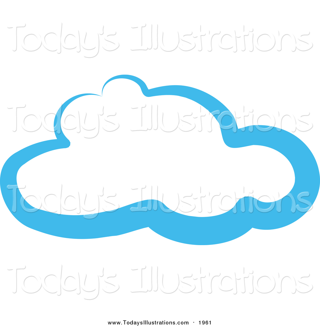 Clipart of a Blue Cloud Outline by Prawny.