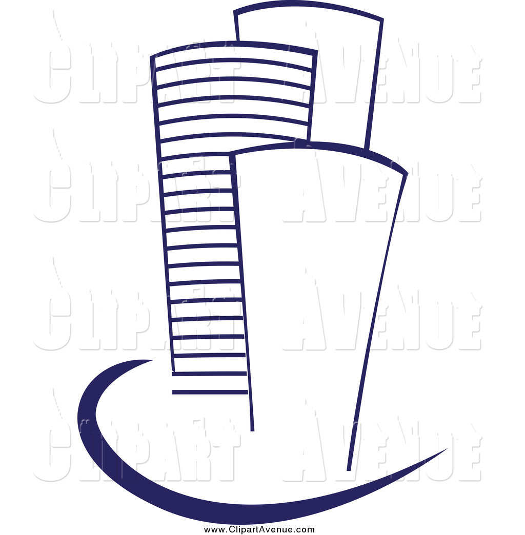 Avenue Clipart of Blue Skyscraper Buildings and Swoosh by Vector.