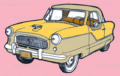 Happy Little 1961 Nash Metropolitan Fifties Compact Car fabric.