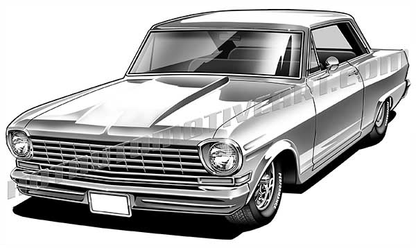 1963 chevy II clipart, buy two images, get one image free.