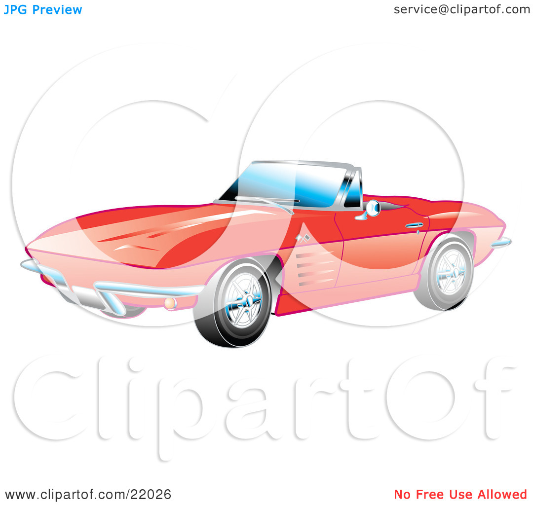 Clipart Illustration of a Red 1963 Convertible Chevrolet Corvette.