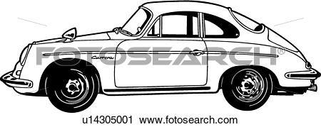 Clipart of , 1963, 356c, automobile, car, classic, porsche, sport.