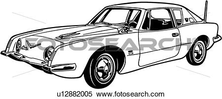 Clipart of , 1963, automobile, avanti, car, classic, sport.