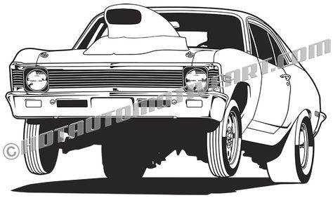 1968 Chevy Nova wheelie vector clip art.