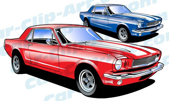1965 Ford Mustang Vector Clip Art.