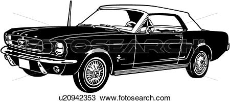 Clipart of , 1964, automobile, car, classic, ford, mustang, sport.