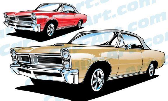 1965 Pontiac GTO Convertible Vector Car Clip Art.