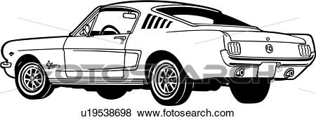 Clip Art of , 1965, 2, automobile, car, classic, fastback, ford.
