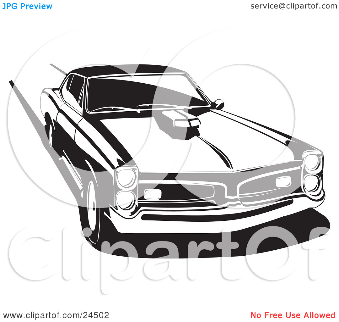 Clipart Illustration of a 1966 Pontiac Gto Muscle Car With A Hood.
