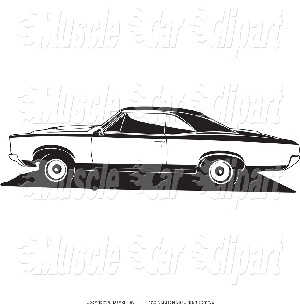 Automotive Clipart of a 1966 Pontiac Gto Muscle Car by David Rey.