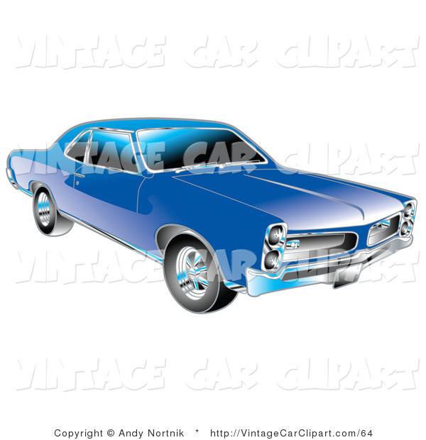 Clipart of a Blue 1966 Pontiac GTO Muscle Car with Chrome.