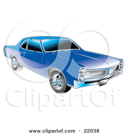 Clipart Illustration of a Blue 1966 Pontiac GTO Muscle Car With.