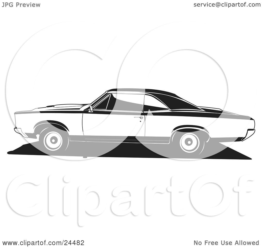 Clipart Illustration of a 1966 Pontiac Gto Muscle Car In Profile.