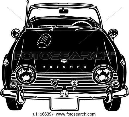 Clip Art of , 1967, automobile, car, classic, sport, tr4a, triumph.