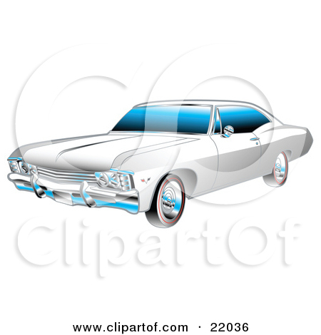 Clipart Illustration of a White And Chrome 1967 Chevrolet Ss.