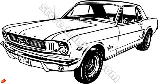 classic mustang car clipart