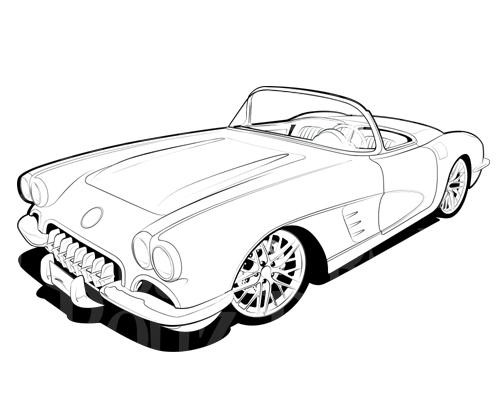 1967 red corvette clipart #4