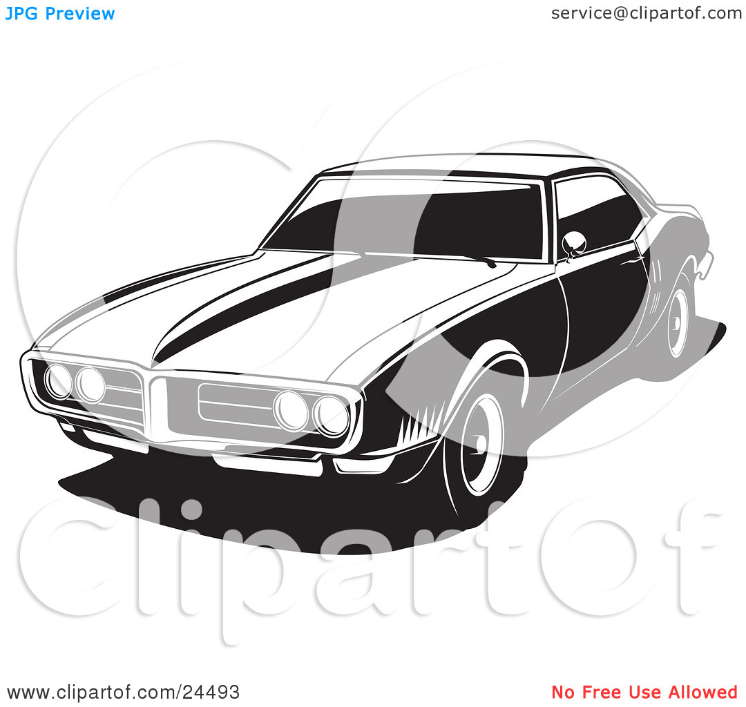Clipart Illustration of a 1968 Pontiac Firebird As Seen From The.