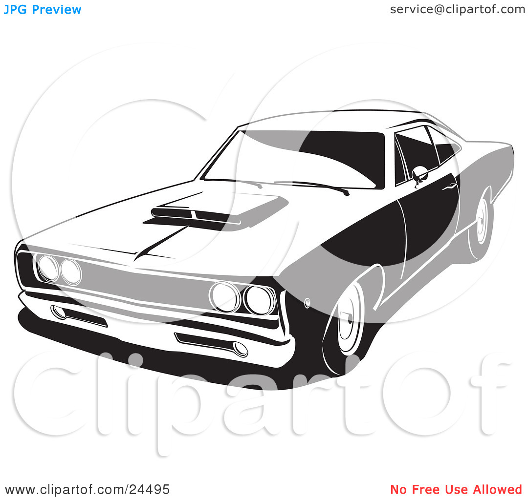 Clipart Illustration of a 1968 Dodge Super Bee Muscle Car With A.