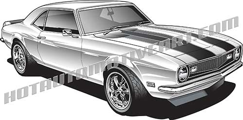 1968 Camaro vector clipart, royalty free, buy two images, get one.