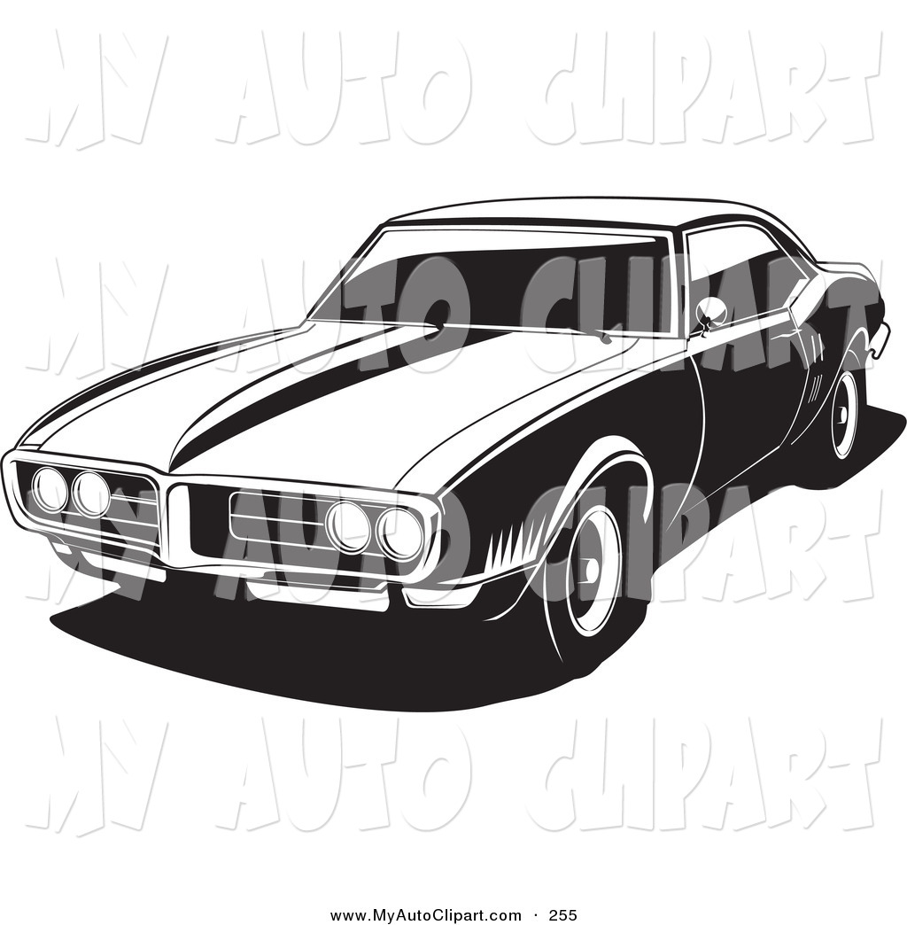 Clip Art of a 1968 Black and White Pontiac Firebird As Seen from.