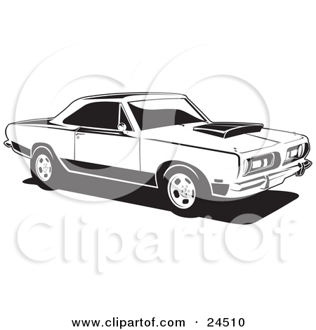 Clipart Illustration of a Parked 1968 Barracuda, A Muscle Car By.