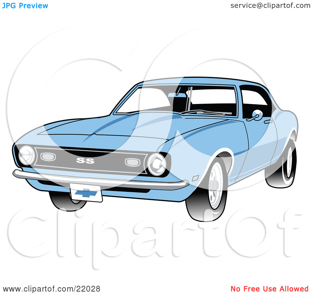 Clipart Illustration of a Light Blue 1968 Chevrolet SS Camaro.