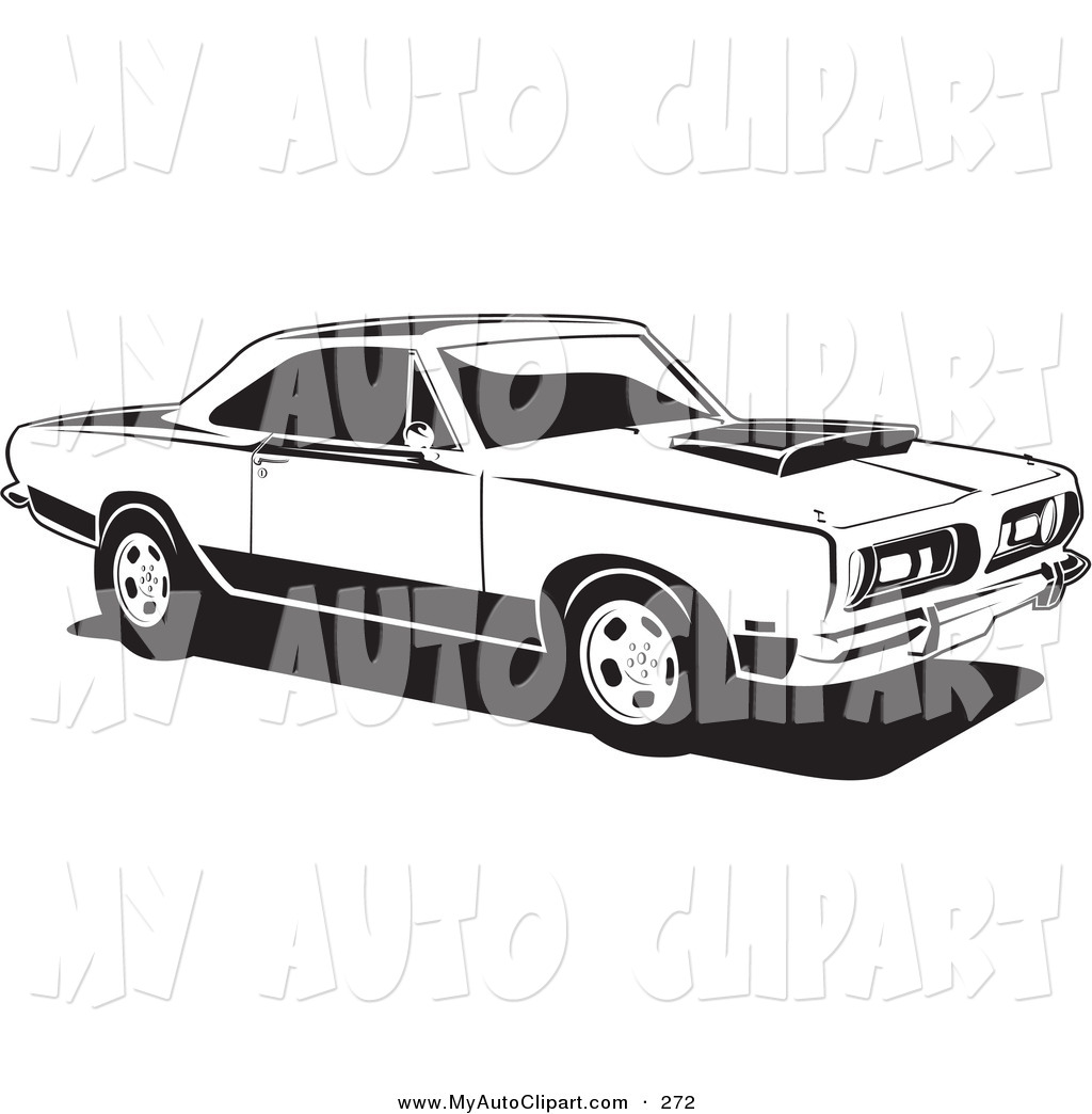 Clip Art of a Parked 1968 Barracuda Car, a Muscle Car by Plymouth.