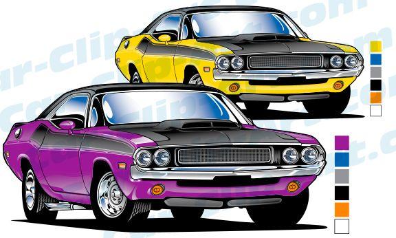 1970 Dodge Challenger Vector Clip Art.