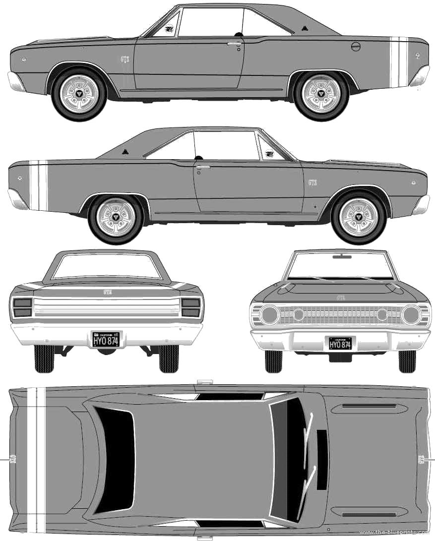 1968 Dodge Dart GTS Hardtop Hemi Coupe blueprints free.