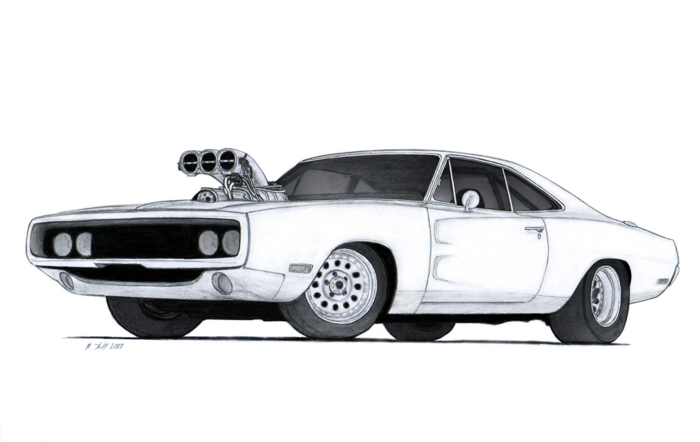 1970 Dodge Charger R/T Drawing by Vertualissimo.deviantart.