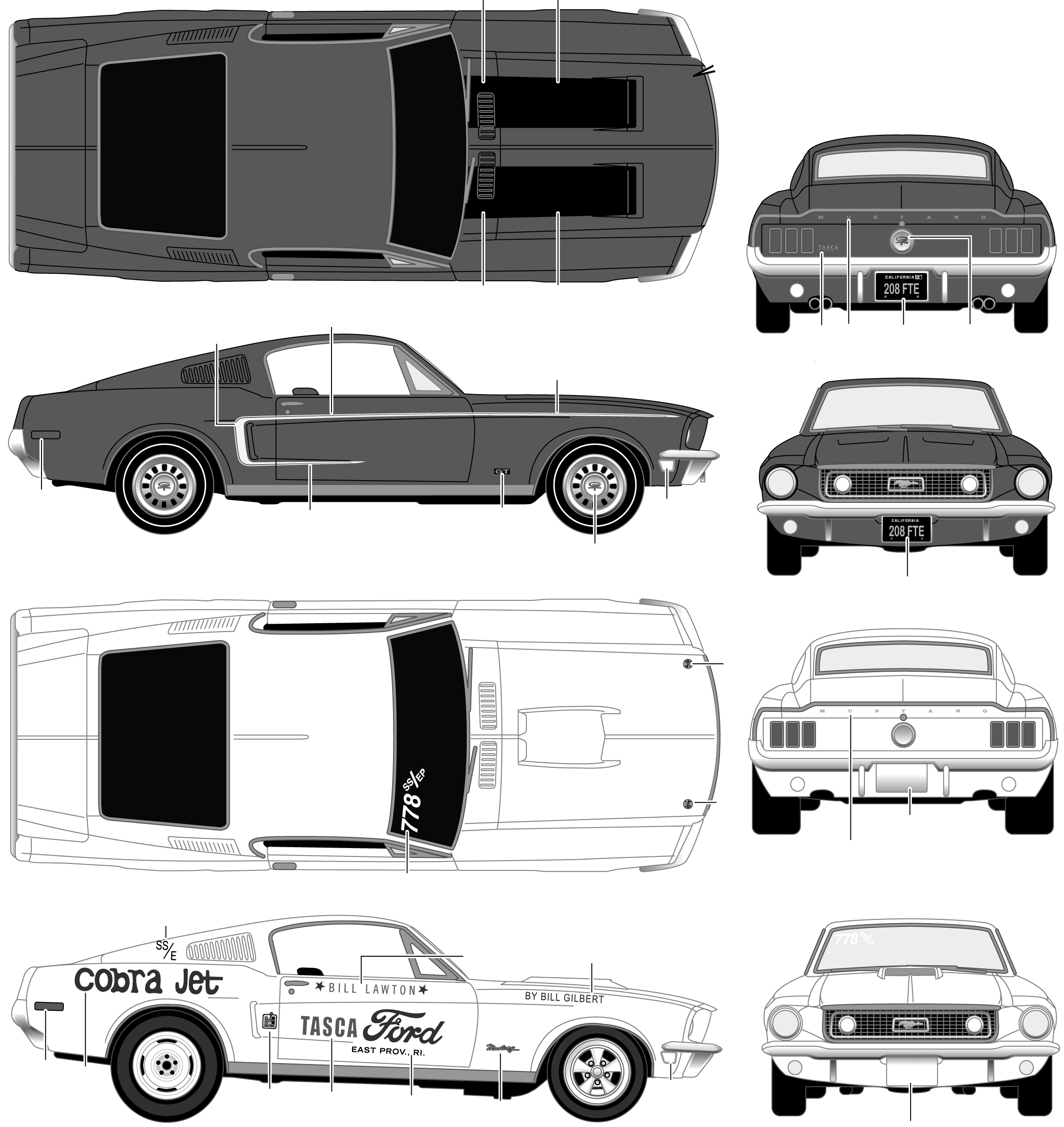 1968 Ford Mustang GT Coupe blueprints free.