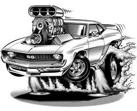 1969 Camaro Cartoon Illustration.