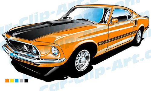 1969 Ford Mustang Mach 1 Vector Clip Art.