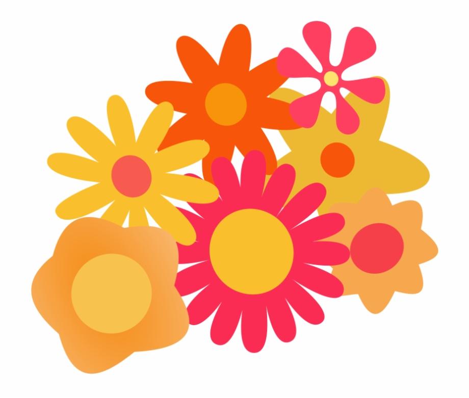 Orange Flower Clipart Cartoon Vector.