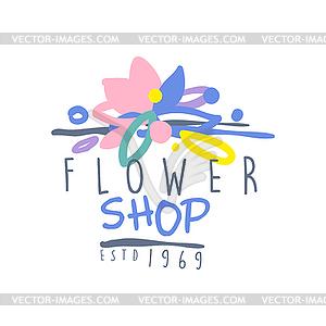 Flower shop estd 1969 logo template colorful.