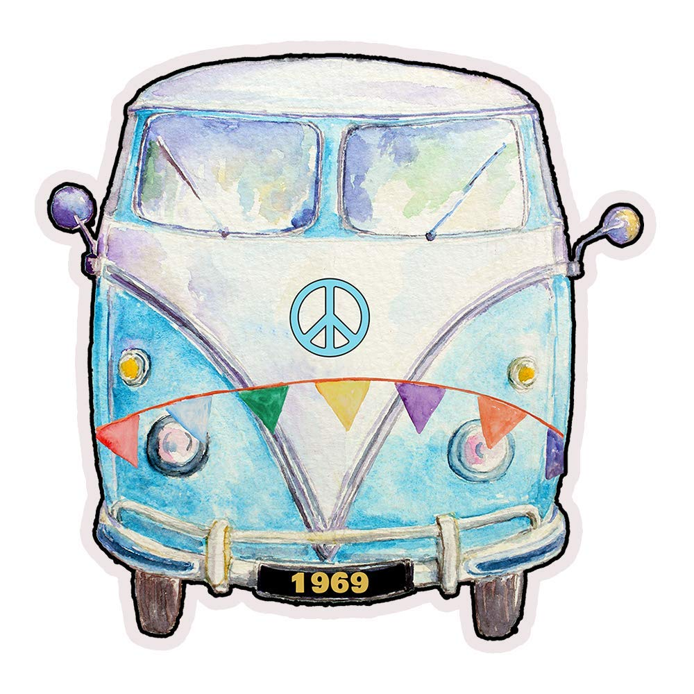 1969 Hippie Peace Van Die Cut Retro Refrigerator Magnet 3x3 Inches by Verde  Birdie 1 Piece.