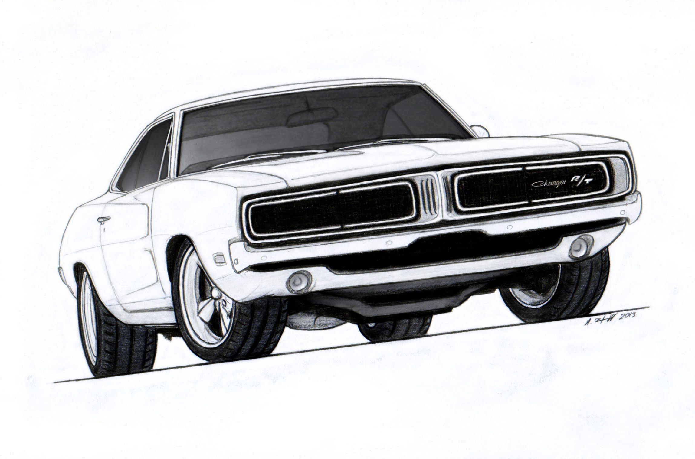 1969 Dodge Charger R/T Pro Touring Drawing by Vertualissimo.