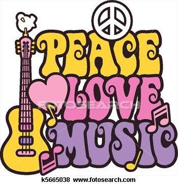 Peace Love Music in Bright Colors Clip Art in 2019.