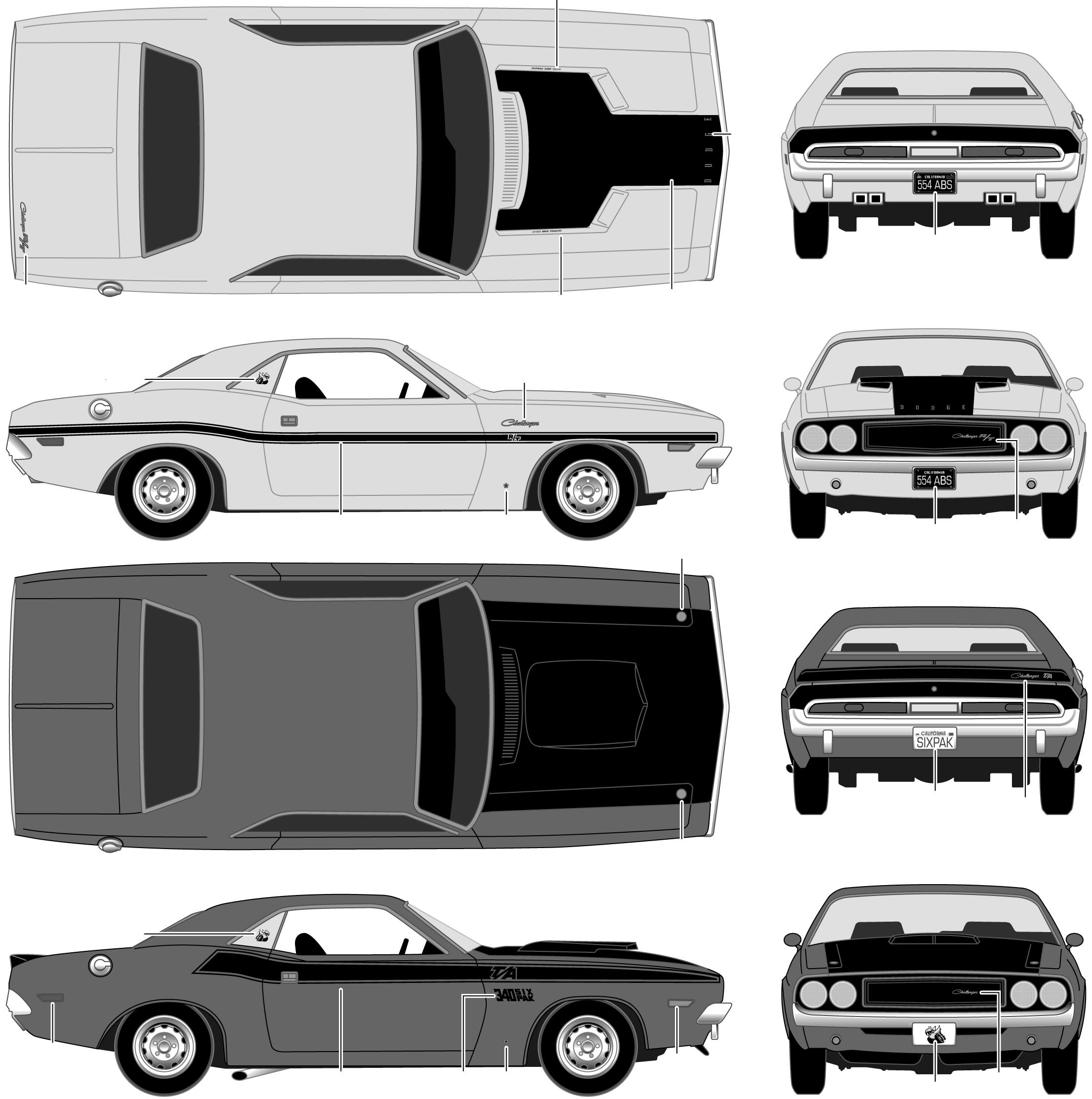 1970 Dodge Challenger Coupe blueprint.