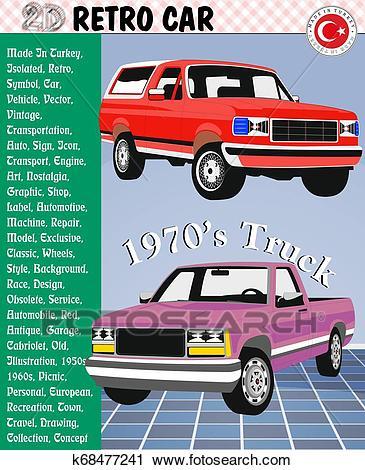 Retro car, Retro Bus, Retro Truck? eps Clipart.