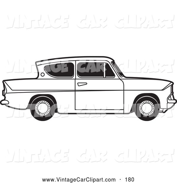 Clipart of a Old Fashioned Vintage Black and White Ford.