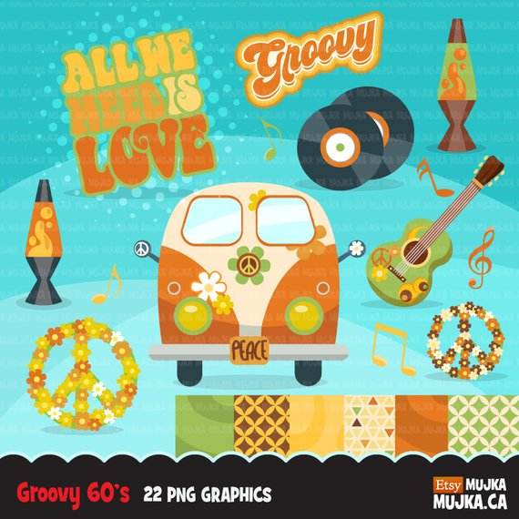 60\'s retro groovy clipart. 70\'s graphics, record, Volkswagen.