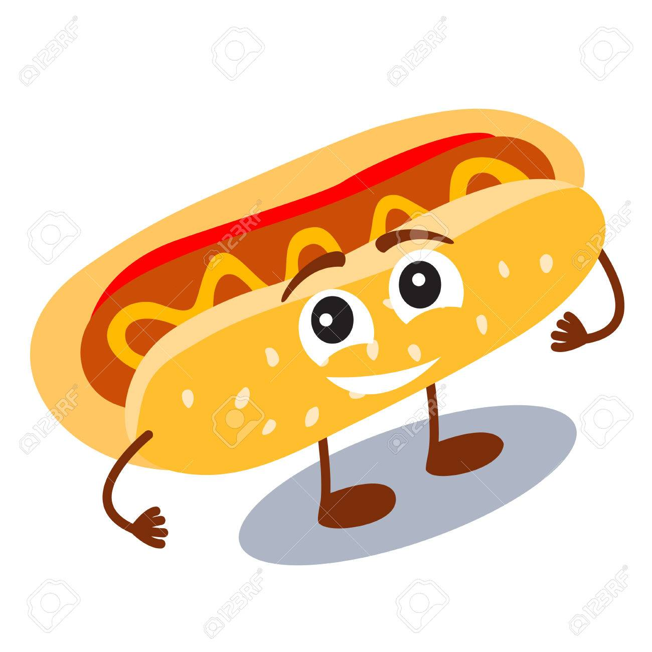 Funny, cute fast food hot dog with smiling human face isolated...