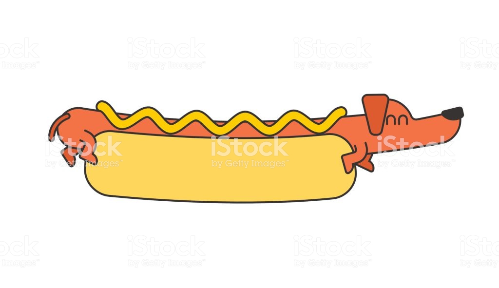 Hot Dog Dachshund And Bun Ketchup And Mustard Fast Food Pet.