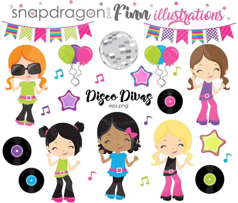 BUY5GET5 Disco clipart, Dance clipart, 1970's clipart, Retro clipart, Disco  Girls, Disco Divas, Dance Party, Commercial License Included.