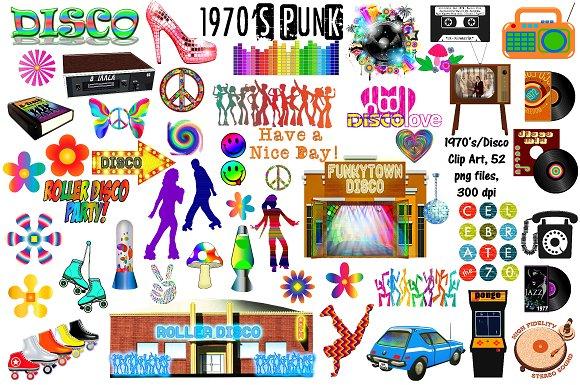 1970's (Seventies) & Disco Clip Art.