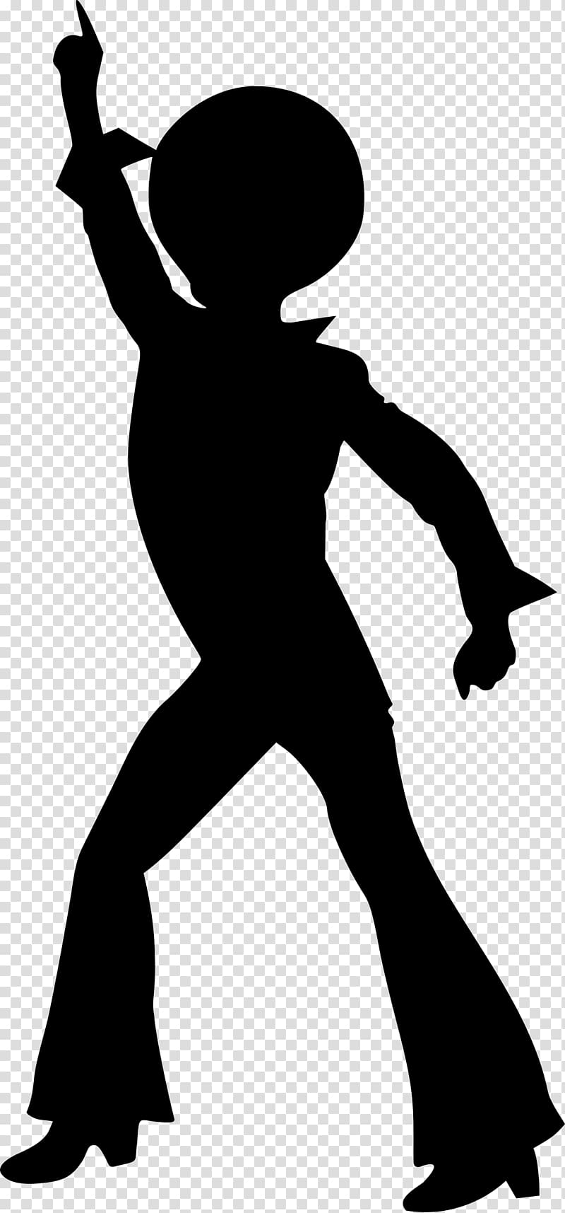 Dance Disco Silhouette Drawing, 70\\\'s transparent background.